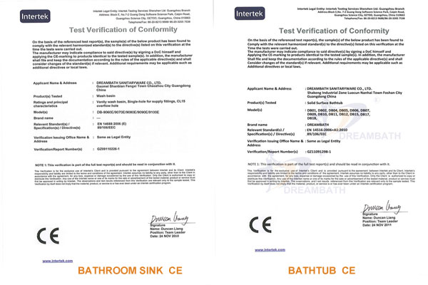 Bathroom Sink & Bathtub CE Certification